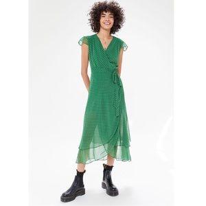 UO Betsey Chiffon Wrap Midi Dress